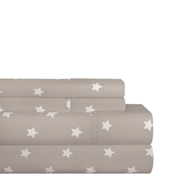 Shedeck Gray Stars 200 Thread Count 100% Cotton Sheet Set by Latitude Run